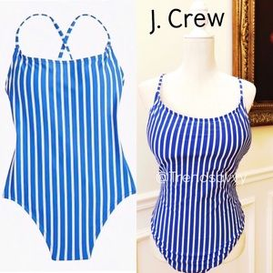 J. Crew Lace-Up Back One Piece Swimsuit In Stripe
